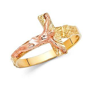 14K Yellow Rose Gold Religious Cross Jesus Ring